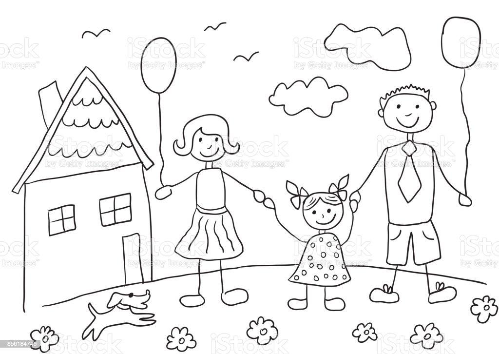 çocuk Mutlu Aile Köpek Ile çizim Baba Anne Kızı Ve Onların Evi Stok
