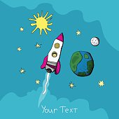 Child's drawing of a rocket. vector illustrations