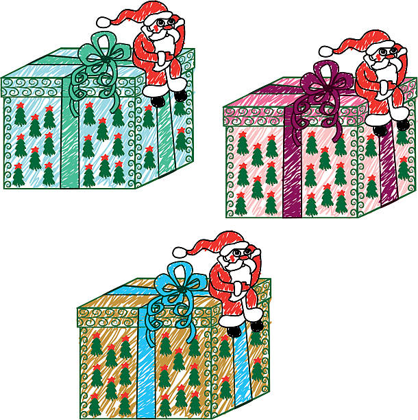 Child's drawing of Santa Claus with a gift vector art illustration