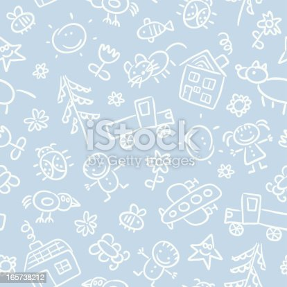 A seamless pattern with child's drawings.