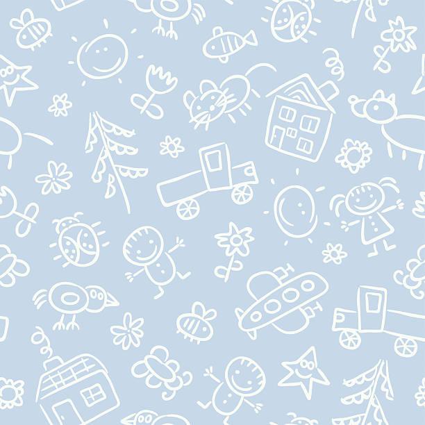 Child's drawing pattern vector art illustration
