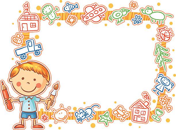 Enfant dessin filaire avec la petite peintre - Illustration vectorielle