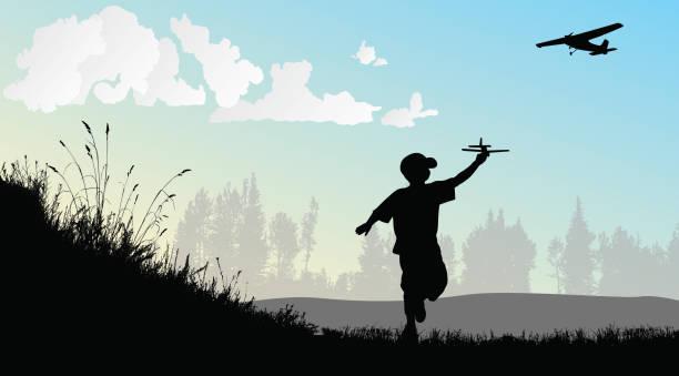 ein kinder-traum vom fliegen - freilauf stock-grafiken, -clipart, -cartoons und -symbole
