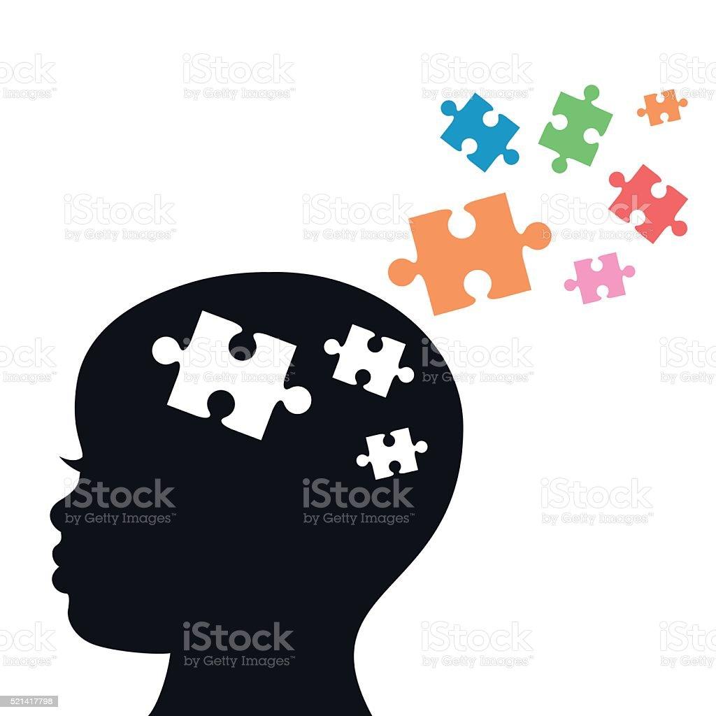 A cabeça das crianças com quebra-cabeça de peças para Autismo- vetor - ilustração de arte em vetor