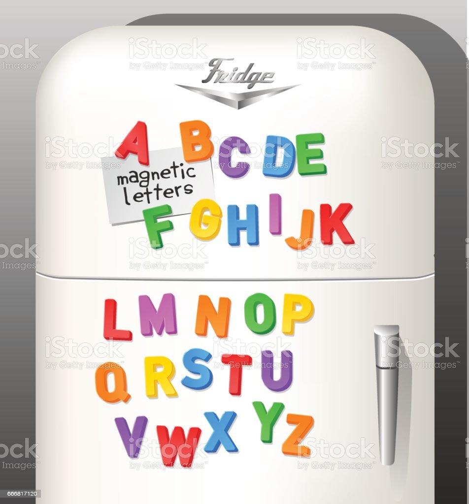 Child's plastic magnetic alphabet letters displayed on vintage refrigerator. Use as font or design elements. Vector illustration. vector art illustration