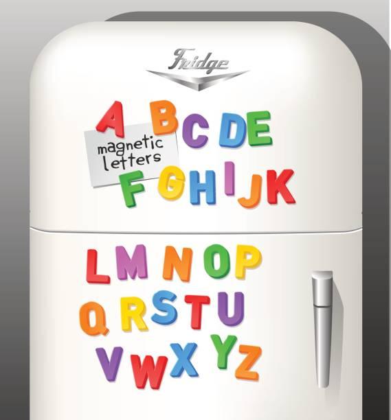 des kindes kunststoff magnetische alphabet buchstaben auf oldtimer kühlschrank angezeigt. als schriftart oder design-elemente verwenden. vektor-illustration. - kühlschränke stock-grafiken, -clipart, -cartoons und -symbole