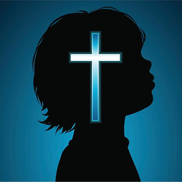 Childs religion vector art illustration