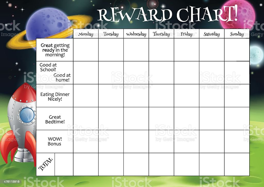 Childs Reward or Chore Chart vector art illustration