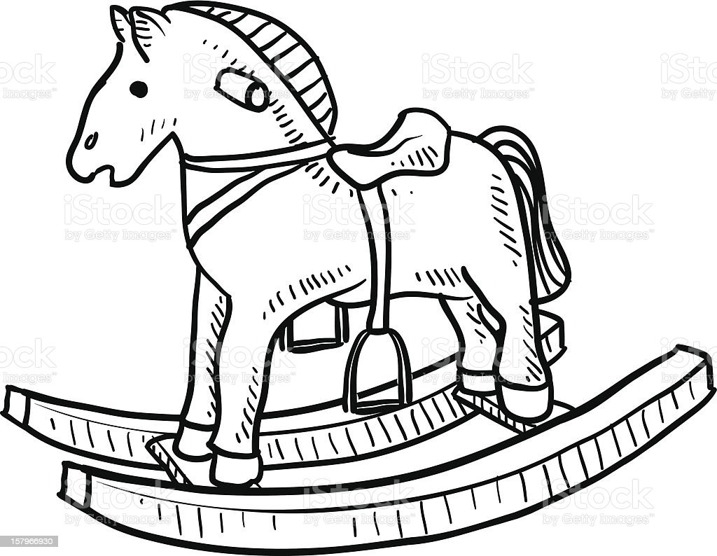 Childs rocking horse sketch stock vector art more images