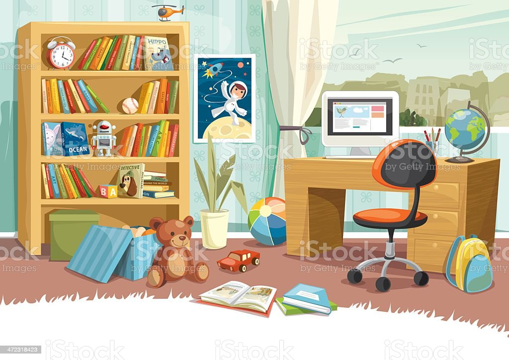 Child's Room vector art illustration