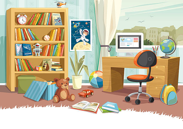 Child's Room Illustration of a boy's room. Bookshelf, toys, books, desk and background are grouped and layered separately. teddy bear stock illustrations