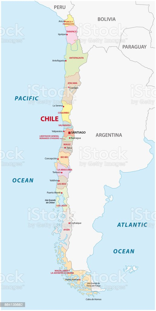 Chile Administrative And Political Map Stock Vector Art More
