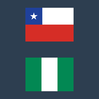 Chile and Nigeria flags icon vector illustration sign symbol