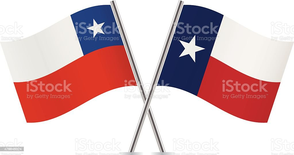 Chile and Texas flags. Vector. vector art illustration