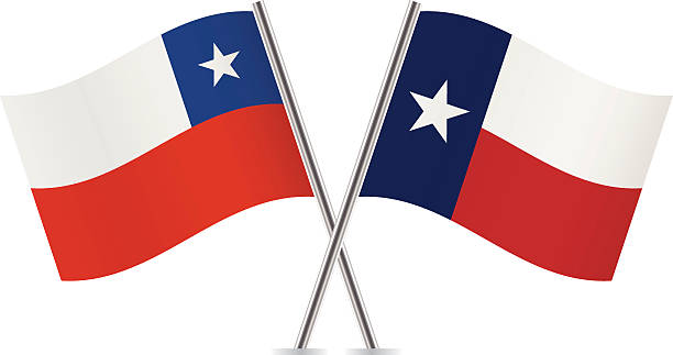 chile and texas flags. vector. - chile flag stock illustrations, clip art, cartoons, & icons