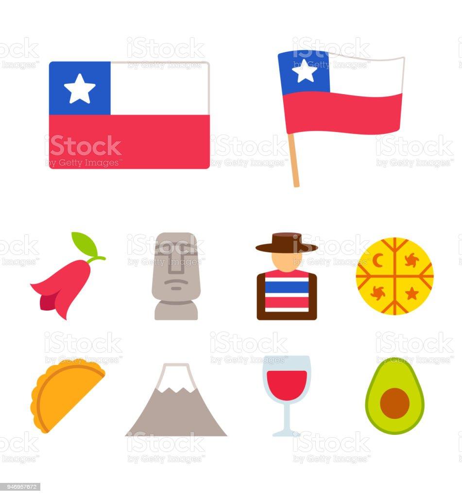 Chile-Cartoon-Symbole-Satz – Vektorgrafik