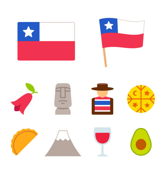 chile-cartoon-symbole-satz - flagge chile stock-grafiken, -clipart, -cartoons und -symbole