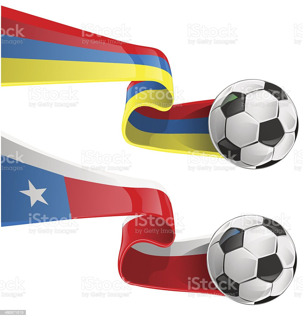 chile & colombia flag with soccer ball vector art illustration