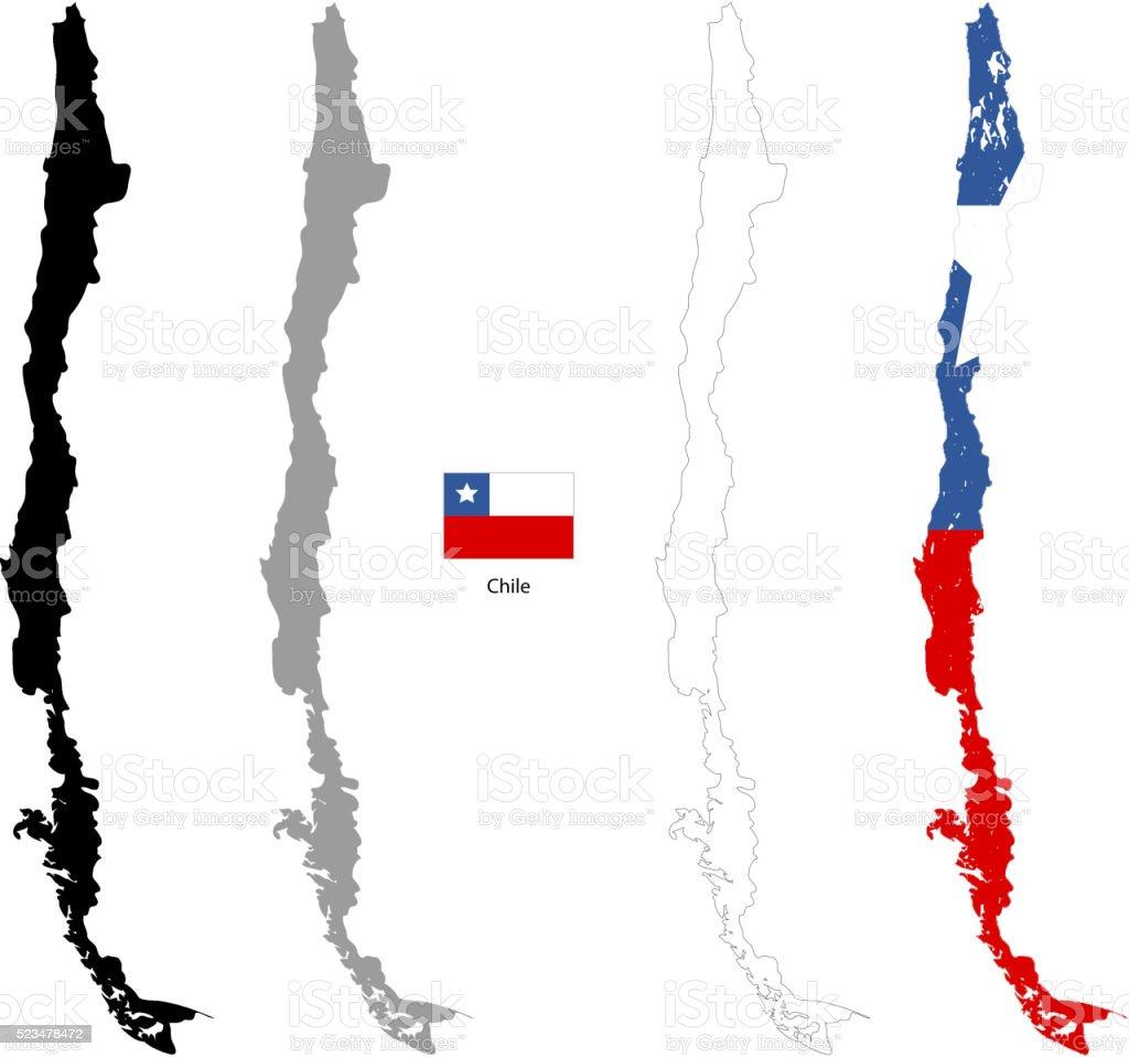 Chile país Silueta negra y con bandera sobre un fondo - ilustración de arte vectorial
