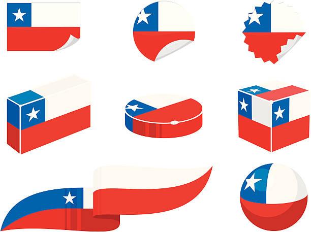 チリデザイン要素 - チリの国旗点のイラスト素材/クリップアート素材/マンガ素材/アイコン素材