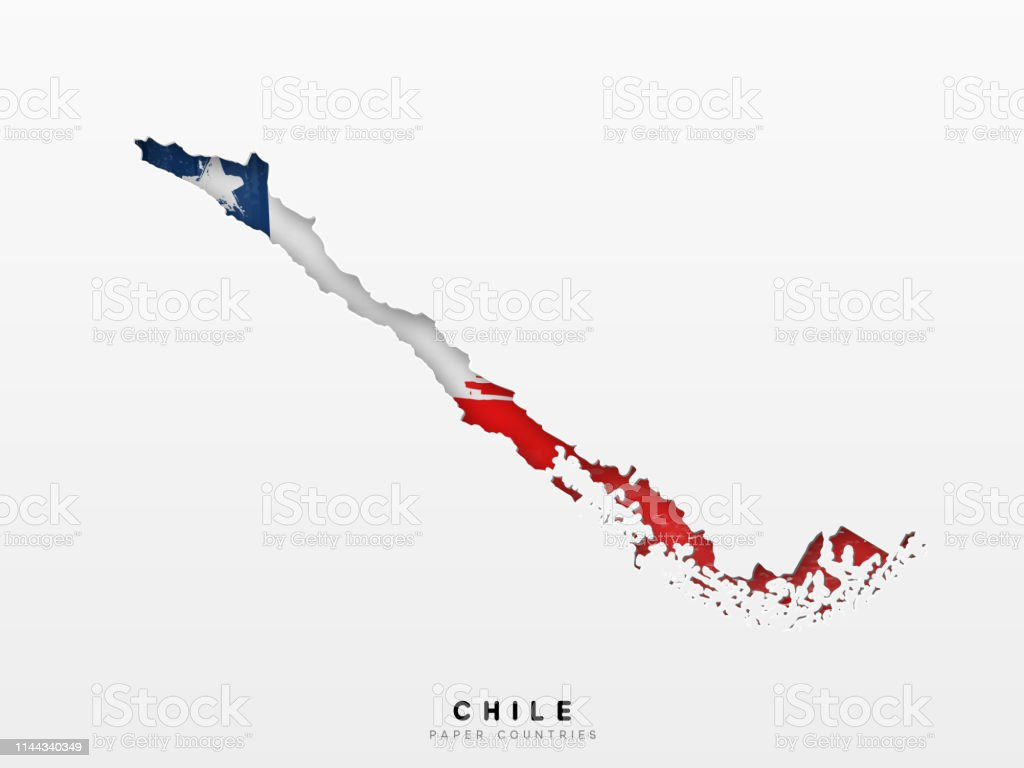 Chile Detailed Map With Flag Of Country Painted In Watercolor Paint on