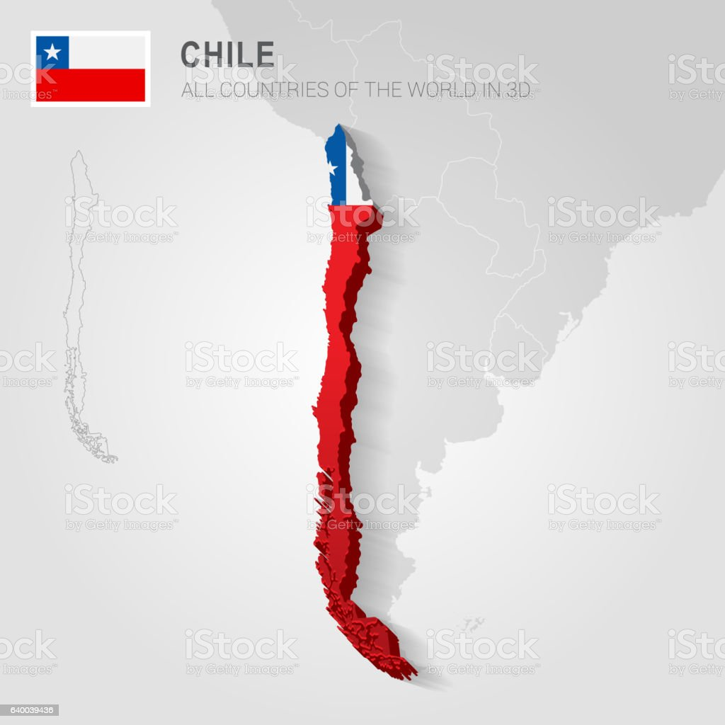 Chile drawn on gray map. - ilustración de arte vectorial
