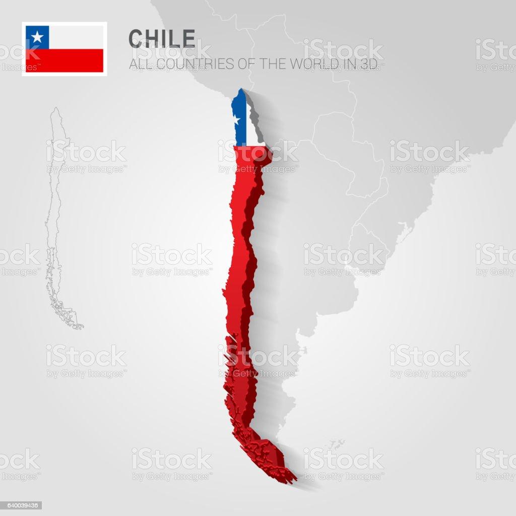 Chile drawn on gray map. – Vektorgrafik