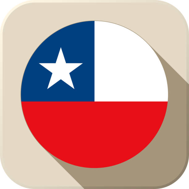 chile flag button icon modern - chile flag stock illustrations, clip art, cartoons, & icons