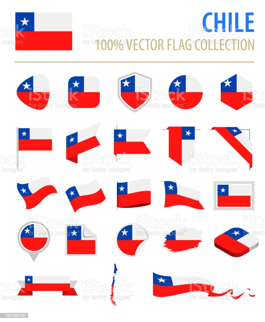 Chile - Flag Icon Flat Vector Set vector art illustration
