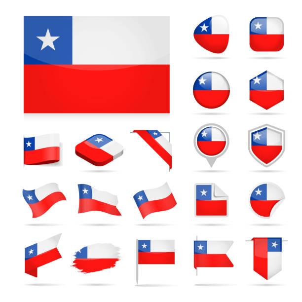 ilustraciones, imágenes clip art, dibujos animados e iconos de stock de chile - bandera icono vector brillante conjunto - bandera de chile