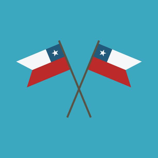 ilustrações, clipart, desenhos animados e ícones de ícone de bandeira do chile em design plano - bandeira do chile