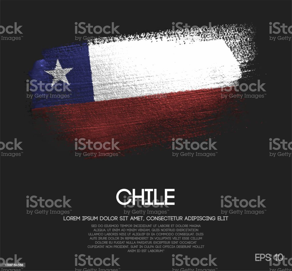 キラキラ輝きブラシ ペイント ベクトルのチリの国旗 ベクターアートイラスト