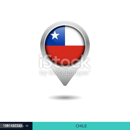 istock Chile Flag Map Pin Vector Stock Illustration Design Template. 1281432333