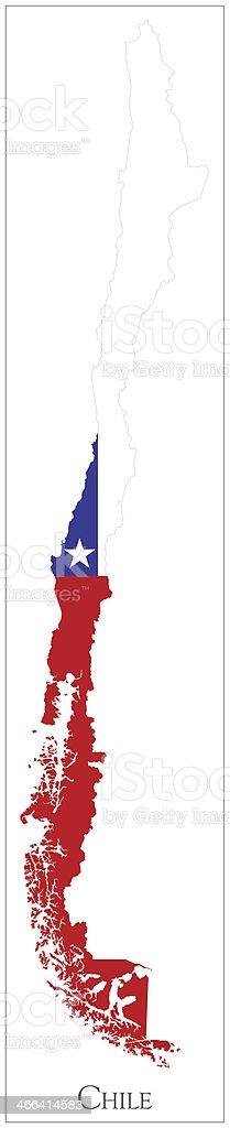 Bandera de mapa de Chile - ilustración de arte vectorial