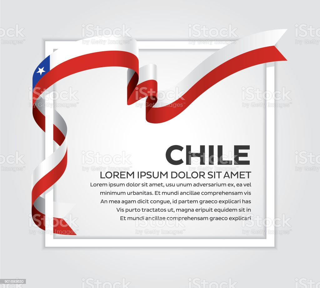 Chile flag on a white background vector art illustration