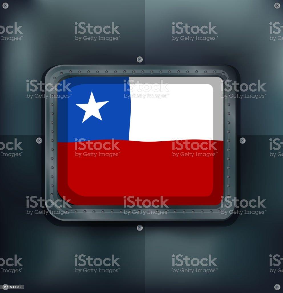 Ilustración de Bandera De Chile En El Marco Del Metal y más banco de ...