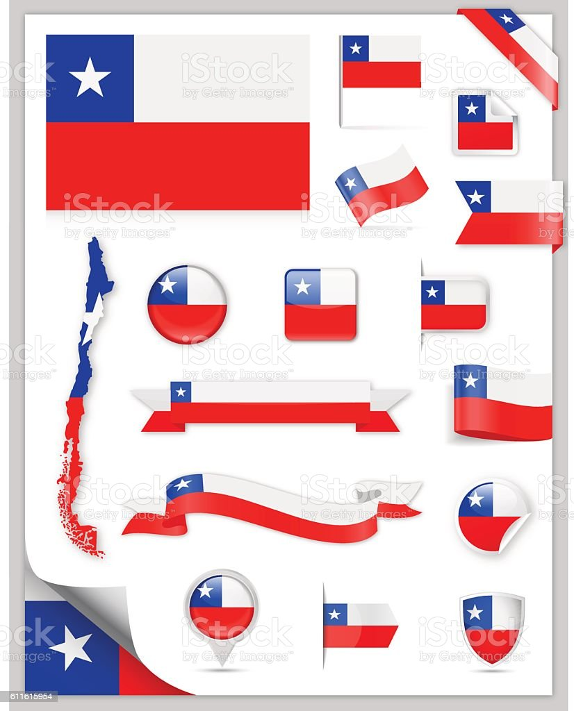 Chile Flag Set - Vector Collection - ilustración de arte vectorial