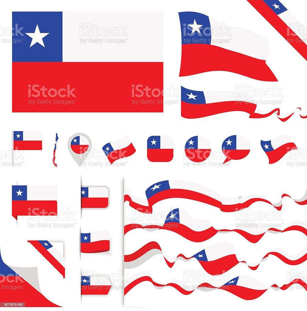 Chile Flag Set vector art illustration