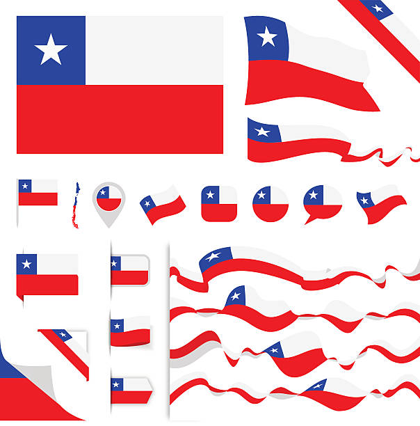 chile flag set - flagge chile stock-grafiken, -clipart, -cartoons und -symbole