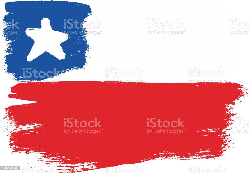 Chile bandera Vector pintadas a mano con cepillo redondo - ilustración de arte vectorial