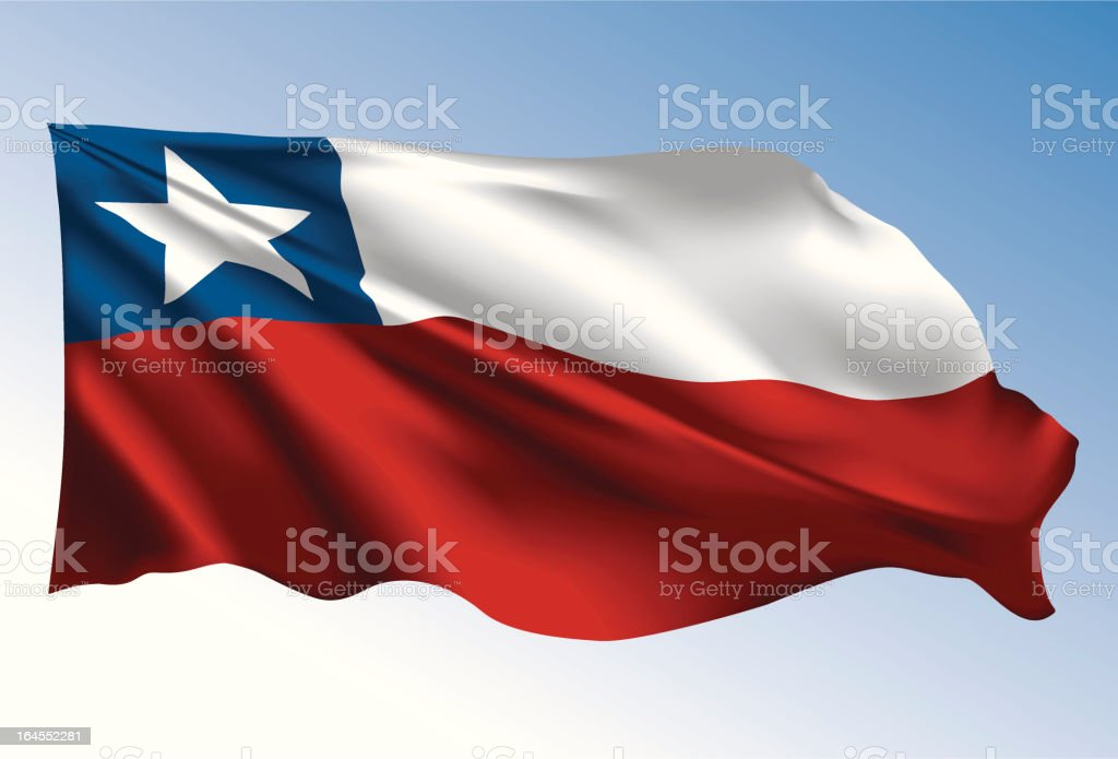 チリ国旗 ベクターアートイラスト