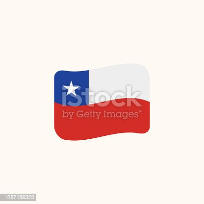 istock Chile flag vector. Isolated Chilean Flag waving flag flat – Vector 1287186323