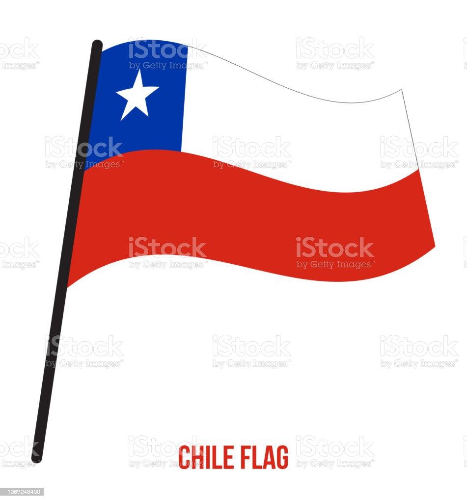 Chile bandeira acenando ilustração vetorial sobre fundo branco. Bandeira nacional do Chile - ilustração de arte em vetor