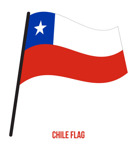 chile flag waving vector illustration on white background. chile national flag - chile flag stock illustrations, clip art, cartoons, & icons