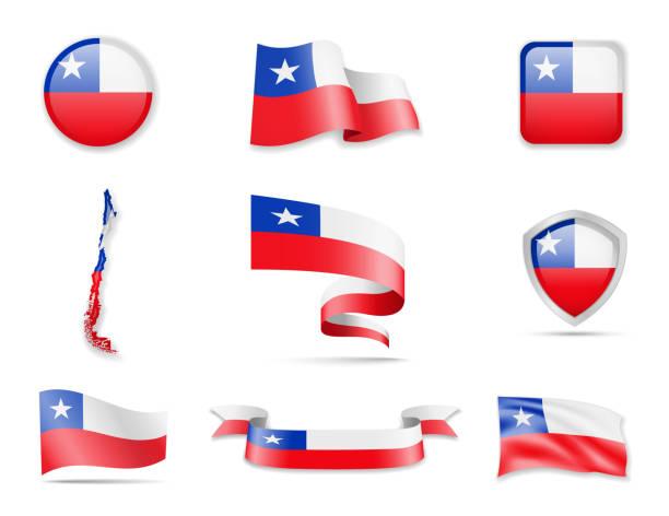 ilustraciones, imágenes clip art, dibujos animados e iconos de stock de colección de banderas de chile. ilustración de vector set banderas y contorno del país. - bandera de chile