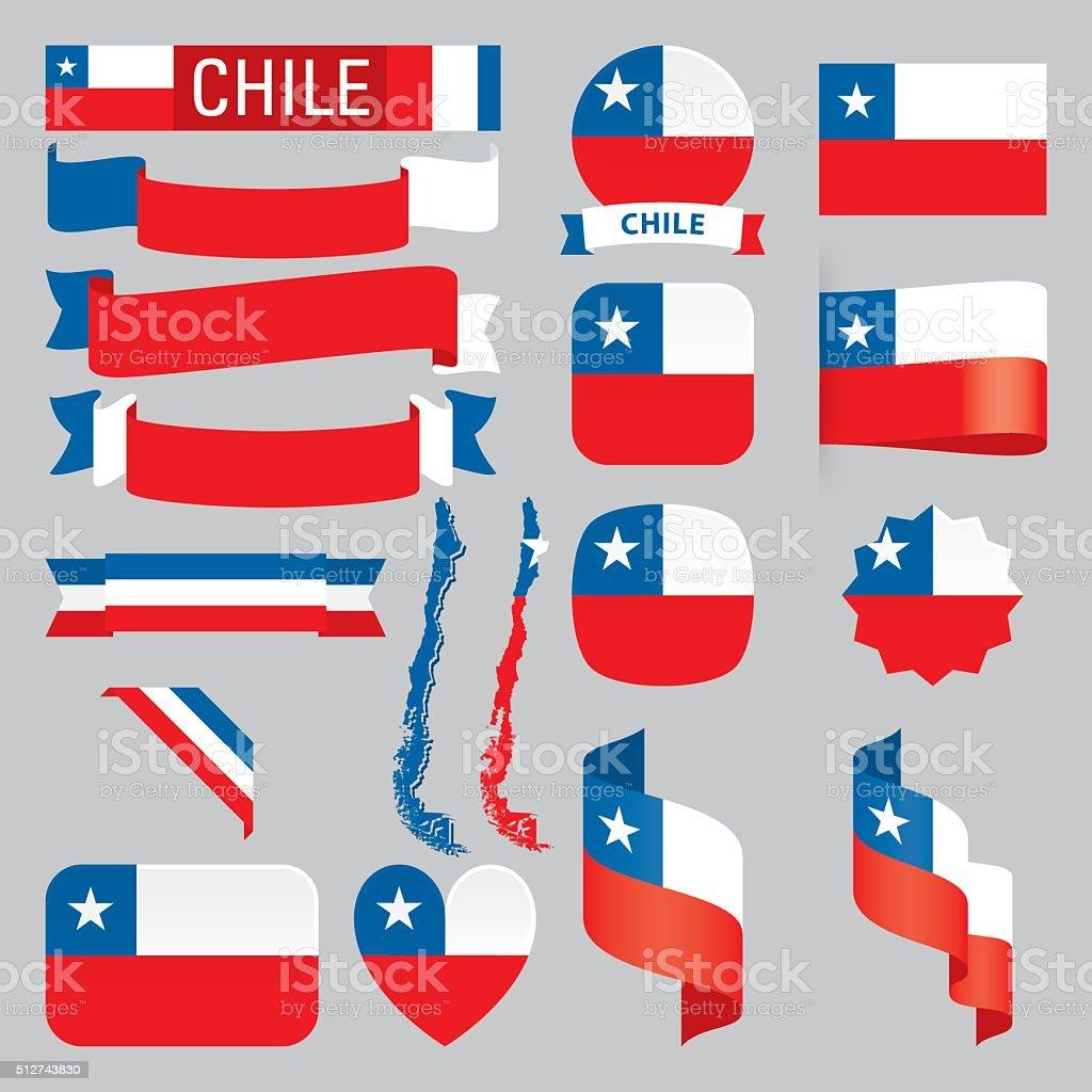 Chile Banderas - ilustración de arte vectorial
