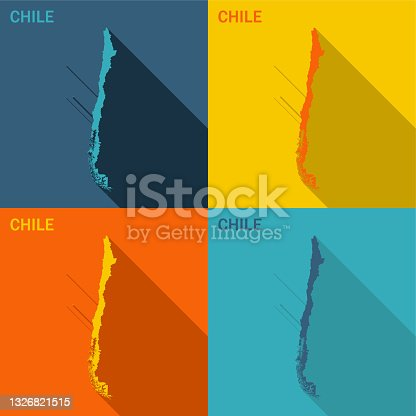 istock Chile flat map available in four colors 1326821515