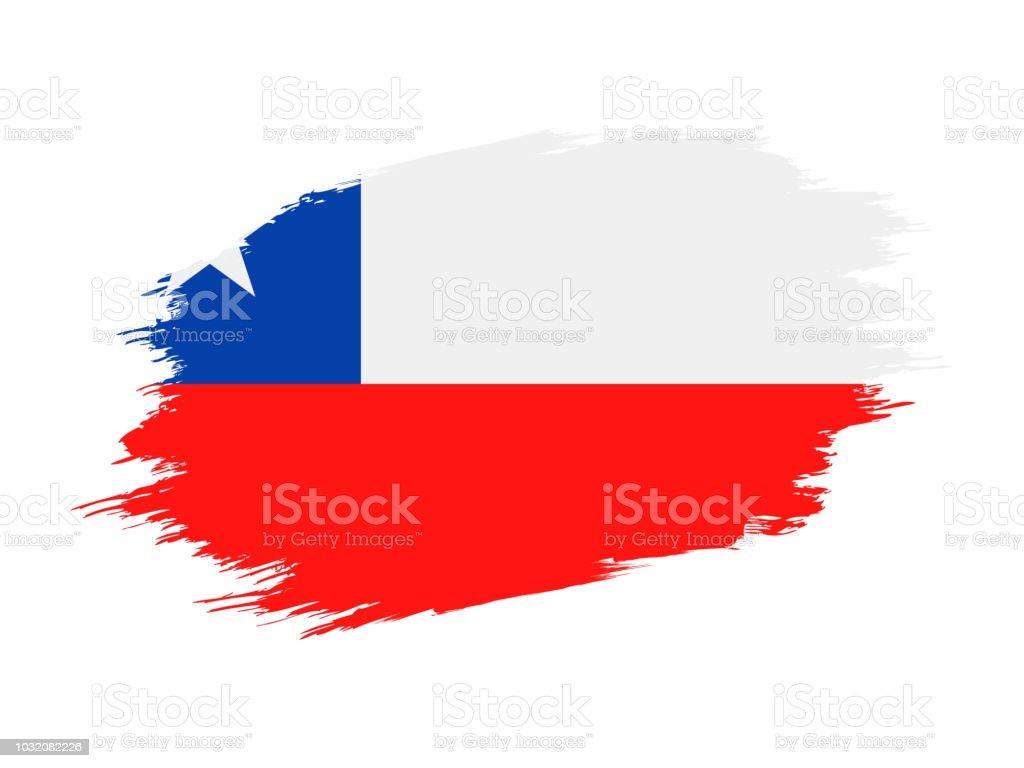 Chile - ícone plana do Vector bandeira Grunge - ilustração de arte em vetor