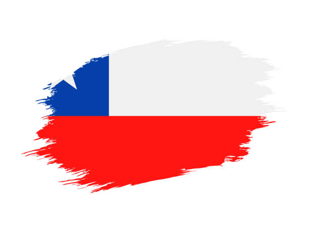 ilustrações, clipart, desenhos animados e ícones de chile - ícone plana do vector bandeira grunge - bandeira do chile