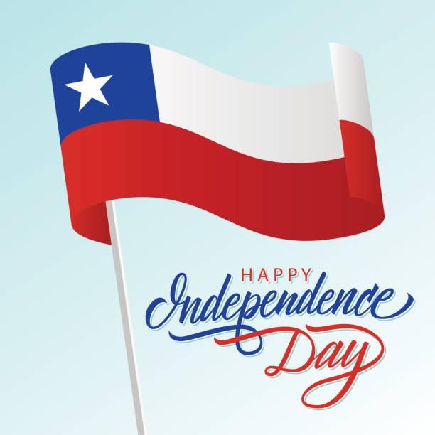 ilustraciones, imágenes clip art, dibujos animados e iconos de stock de tarjeta de felicitación de feliz día de la independencia de chile con agitando bandera nacional chilena y rotulación diseño del texto. - bandera de chile